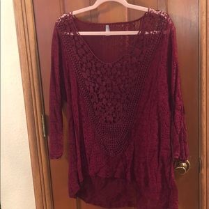 Tops - Maroon lace top
